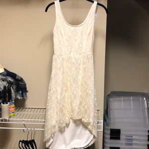 White high-low lace dress